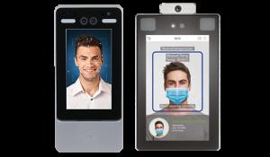 acceso facial con mascarilla y medición de temperatura - medidas prevención